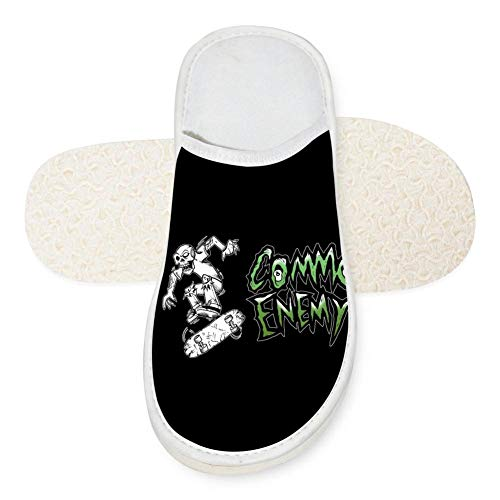 Women Men Skate Skeleton Common Icon Enemy Cotton Warm Indoor Soft Slippers Home Family Women 7 (M) US