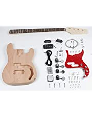 $134 » Leo Jaymz DIY Electric Bass Guitar Kits - Mahogany Body, Maple Neck and Rosewood Fingerboard - Fully Components Included (PB)