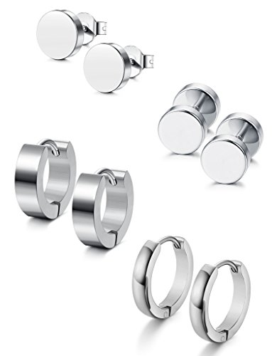 (Jstyle 4 Pairs Stainless Steel Stud Earrings for Men Women Hoop Earrings Huggie Piercing 18G White)