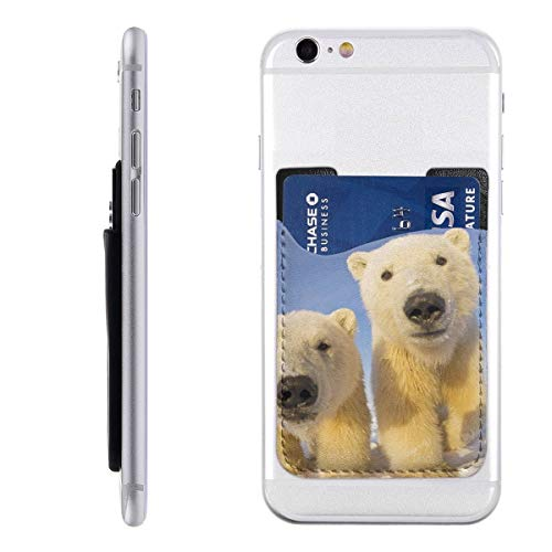 Cute Polar Bear Funny Animal 3M Adhesive Ultra Slim Cell Phone Card Holder Back, Stick On Card Wallet Sticker for iPhone Android Smartphones
