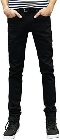 [ビードラゴン] 裏起毛 防寒 デニム スキニー パンツ カジュアル 防風 ブラック ストレッチ スリム ジーンズ メンズ