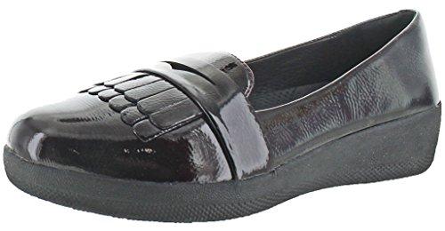 Fitflop Dames Fringey Sneakerloafer In Leren Platte Donkere Kers