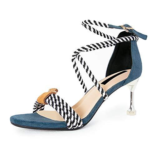 Hebilla Tacones Fresco Mujer Abierta Pequeño Yukun Verano Sandalias Con Y Blue Zapatos Estilete Femenino Moda Tacón Altos Punta Alto De Palabra Gato wqw8XUH