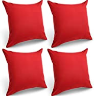 4 Packs Decorative Outdoor Waterproof Throw Pillow Covers, Square Garden Cushion Case, PU Coating Pillow Shell
