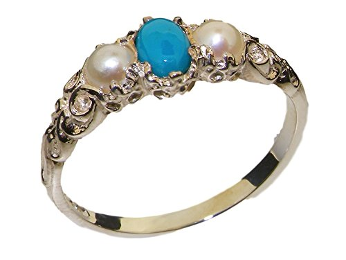 925 Sterling Silver Real Genuine Turquoise & Cultured Pearl Womens Band Ring - Size 7