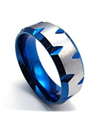 TEMEGO Jewelry Mens Stainless Steel Ring,8mm Faceted Edges Band, Blue Silver