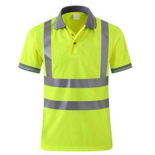 GOGO Men's Polo Shirts Hi Vis Short Sleeve Safety Work-wear Shirt-Yellow-M