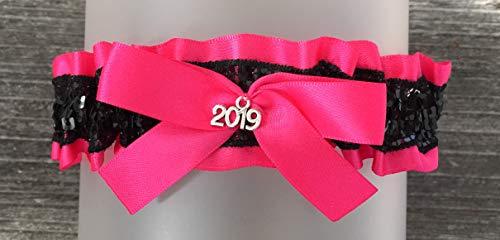 Sexy Hot Pink Satin Black Sequin Accented Keepsake Wedding Prom Bridal Garter - 2019 Charm