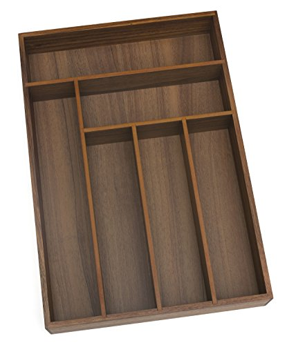 Lipper International 1078 Acacia Wood Deep Flatware Organizer with 6 Compartments, 11-3/4