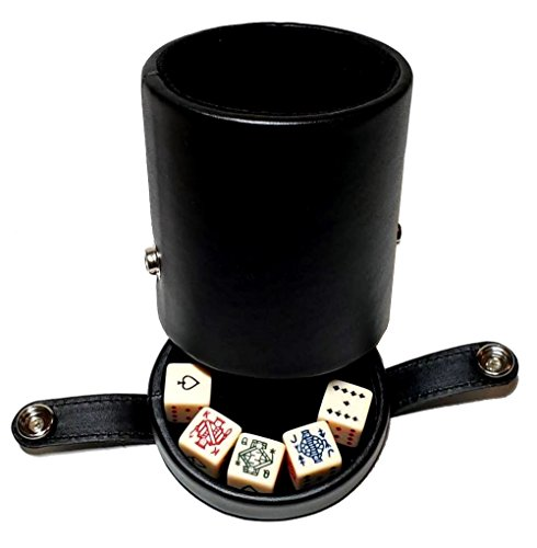 - Black Leatherette Deluxe Dice Cup With Storage Compartment for Included Poker Dice Set