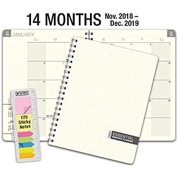 amazon com essential 8 5x11 monthly 2019 planner 14 months