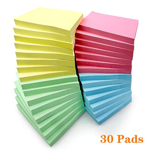 Sticky Notes 3x3 Inches,4 Colored Self-Stick Pads for Office Home School,100 Sheets/Pad,30 Pads ()