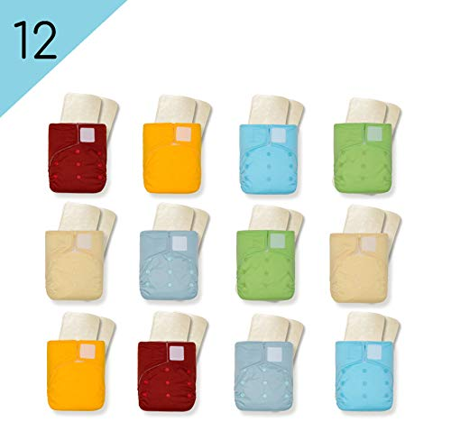 Kawaii Baby 12 Pack One Size Heavy Duty HD2 Cloth Diapers with 24 (5-Layered) Premium Bamboo Inserts Reusable Heavy Use Daycare Best Diaper