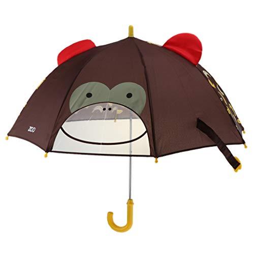 Prettyia Children Umbrella Animation Creative Long-Handled 3D Ear Modeling Kids Umbrella - Monkey, 60cm