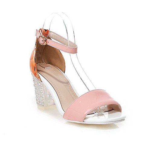 Solid Leather Open Womens High Patent Buckle Heels Pink Toe Sandals AmoonyFashion H70qCYww