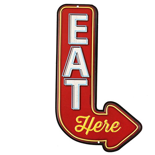 - Open Road Brands 90151356 Die Cut Embossed Tin Sign, Eat Here Arrow