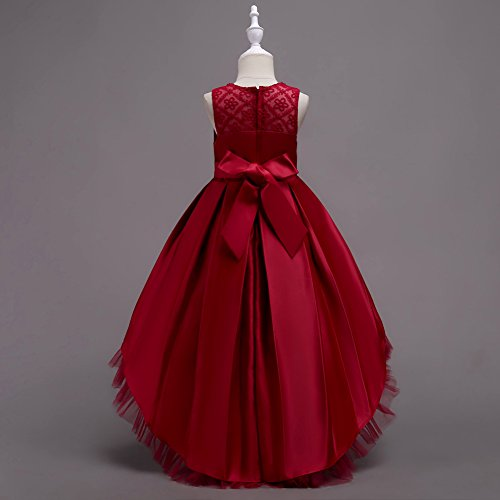 Toddler Girl Dresses 3T 4-5T Fall Burgundy Ruffle For Special Occasion 2T Sleeveless Party Wedding Ball Gown Little Girl Dresses 4T Formal Tutu Tulle Dress For Birthday Pageant Cute (Wine 120)