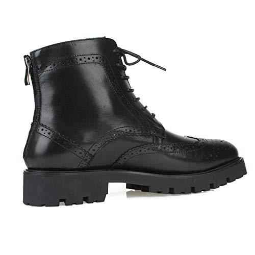 Cuir XYCSZQ Confortable Black en Dent Casual Caoutchouc Respirable Chaussures Hommes Broch Carved UUwqa5