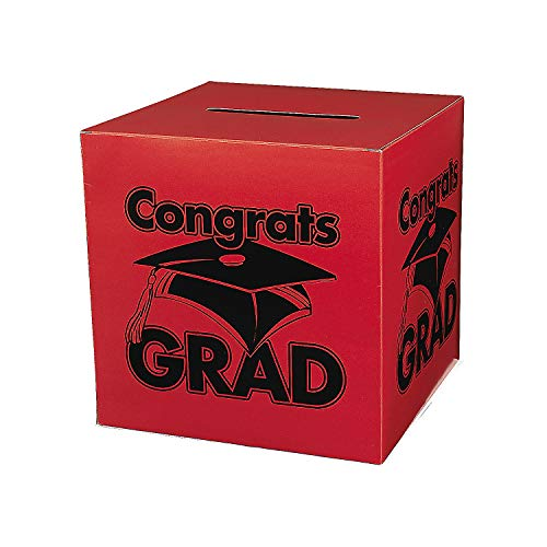Fun Express - Congrats Grad Red Card Box for Graduation - Party Supplies - Containers & Boxes - Paper Boxes - Graduation - 1 Piece -