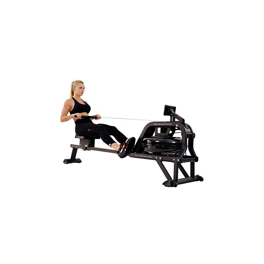 Sunny Health & Fitness Water Rowing Machine Rower w/LCD Monitor Obsidian SF RW5713