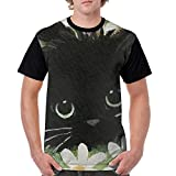 Oh-HiH Men's Raglan Short Sleeve T-Shirts Black Cat Casual Baseball Athletic Tee