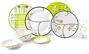 Weight Loss Portion Control Kit – 7 Piece Set of Porcelain Plates, Bowls, Drinking Glass and Healthy Eating Nutrition Discs – Perfect Nutrition Management Tool for Adults & Big Kids