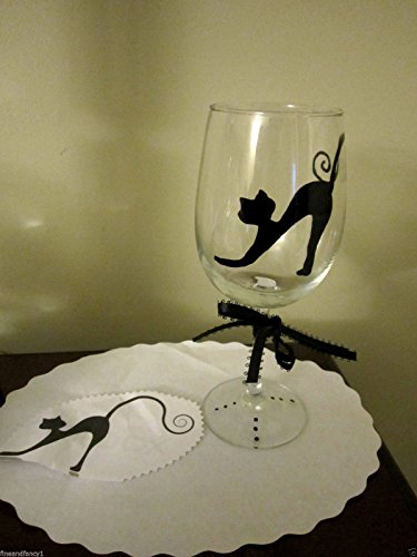 Glass Black Cat wine glass