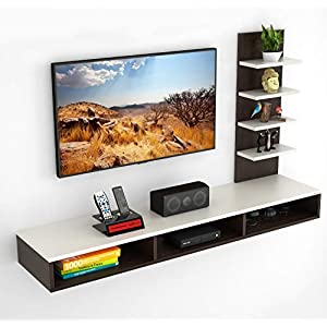 BLUEWUD Primax Engineered Wood TV Entertainment Wall Unit/Set Top Box Stand (Brown, Standard/Ideal for up to 42 Inch)