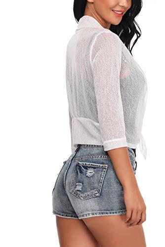 A Corte Donna Aperto Aranmei Bolero 4 Bianco Cardigan Frontale Maniche Corto Taglio Da 3 TzqYxTW