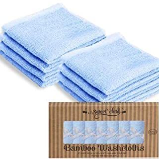 Sweet Child Baby Bamboo Washcloths - Premium Wash Cloth Set of 8 - Ultra Soft Kids/Infant Wash Cloths for Face and Body - Neutral Washcloth Pack - Top Baby Registry and Shower Gifts (Blue)