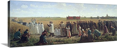 Jules Breton Gallery-Wrapped Canvas entitled The Blessing of the Wheat in the Artois, 1857 by greatBIGcanvas