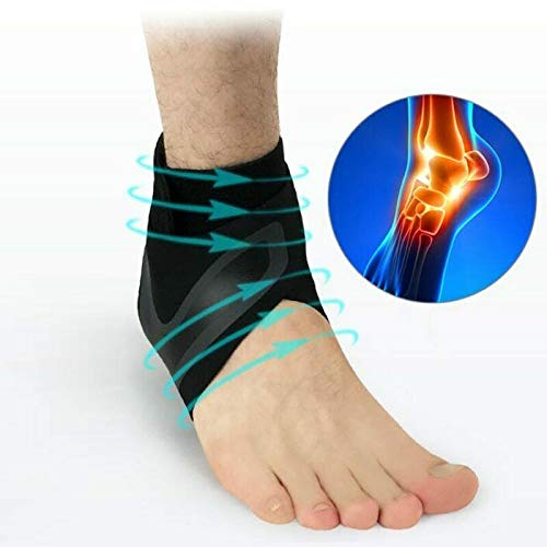 Iusun Ankle Support Pads Adjustable Elastic Ankle Sleeve Elastic Ankle Brace Guard Foot Professional Sports Protection Mountaineering Running Taekwondo Ball Fitness (M, black)