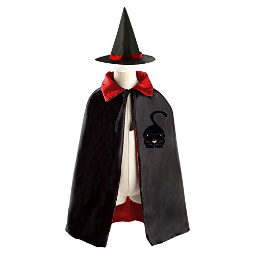 Cute Kitten Witch Cloak Reversible Cosplay Costume Satin Cape Boys Girls (Easy Homemade Devil Costume)