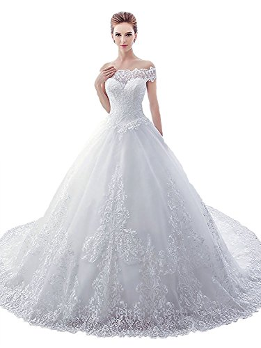 Aorme White Lace Embroidery Off Shoulder Ball Gown Wedding Dress Cathedral Train
