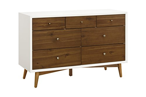 Babyletto Palma 7-Drawer Assembled Double Dresser, White/Natural Walnut