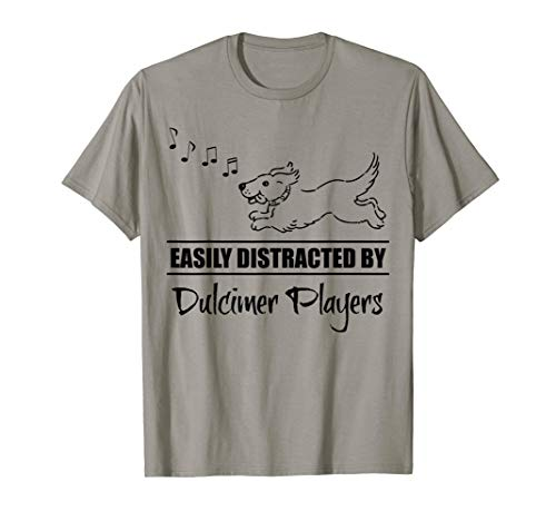 Running Dog Easily Distracted by Dulcimer Players Whimsical T-Shirt