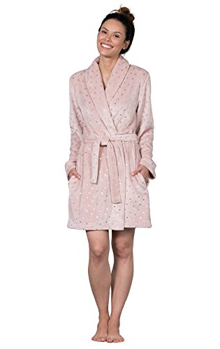 PajamaGram Ultra-Soft Star Dust Short Wrap Robe for Women, Pink, XLG