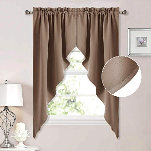 "NICETOWN Blackout Rod Pocket Kitchen Tier Curtains- Tailored Scalloped Valance/Swags for Living Room (2 Panels, 36"" W X 63"" L Each Panel, Cappuccino)"