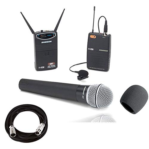 (Samson UM1/77 Combo Micro Diversity Wireless System - Ch N2 With Q7 Handheld Mic and LM10 Lavalier + Mic Cable & Foam Windscreen)
