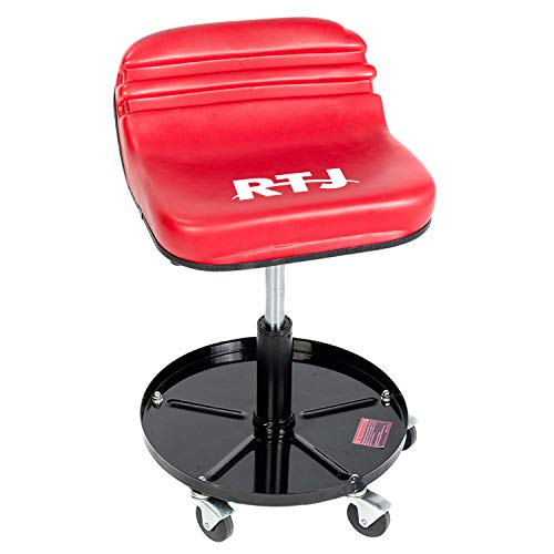 RTJ 300 lbs Capacity Pneumatic Mechanic Roller Seat Adjustable Rolling Stool, Red