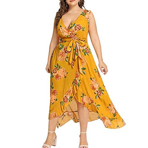 Women's Plus Size Dress,Ladies V Neck Short Sleeved Dress Floral Print Vintage Dress XL-5XL ()