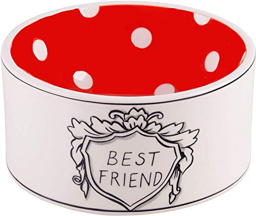 Molly Hatch Pet Bowl Dish Ceramic Porcelain Medium W Print/Best Friend/Non Skid Food Water Can Dry Food