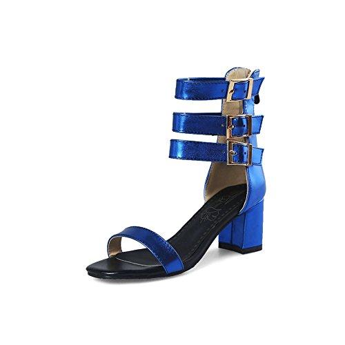 SHINIK Zapatos de mujer Nuevas sandalias de tacón alto Sandalias romanas Botines Botas de confort de verano Punta abierta B