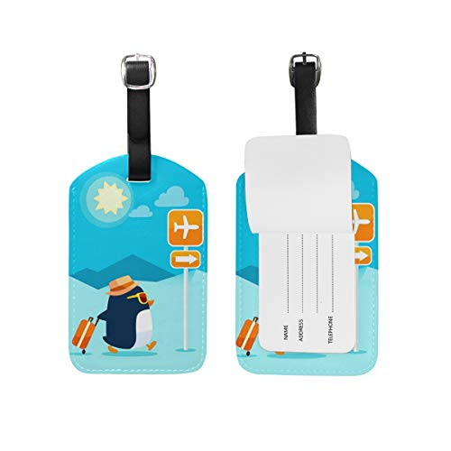 2PCS Leather Travel Penguin Sun Luggage Tags Travel Baggage Labels Bag Tag