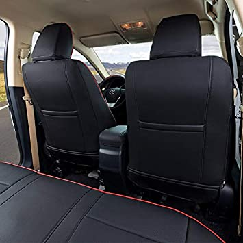 Black with Red Trim EKR Custom Fit Full Set Car Seat Covers for Select Toyota Highlander 2014 2015 2016 2017 2018 2019 Three Rows Second Row 40//60 Split,Leatherette