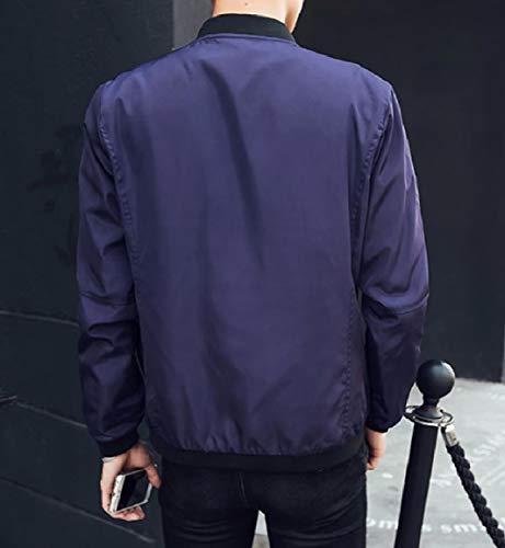 Puro Giacca Della Di College Blu Con Colore Tasche Colletto Mandarino Mogogomen Navy Cerniera dUBn8Bx
