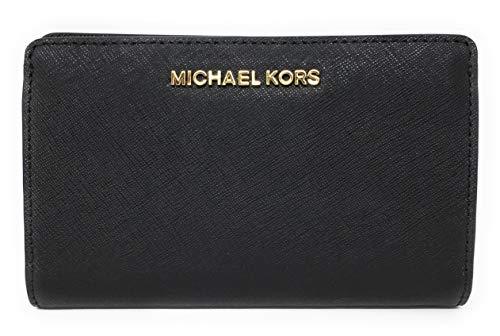 (Michael Kors Jet Set Travel Slim Bifold Saffinao Leather Wallet (Black))
