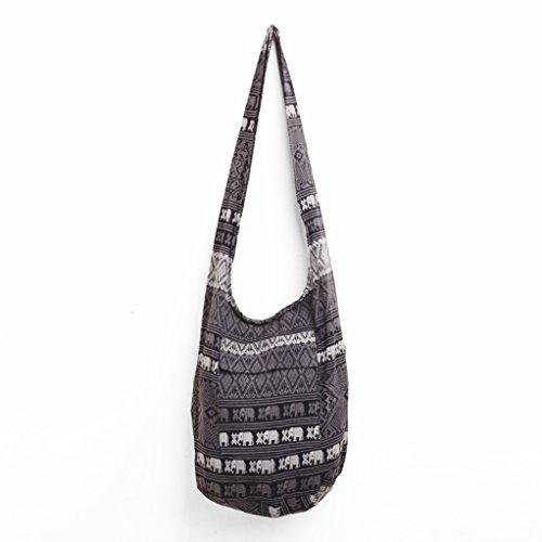 Fair Trade Elephant - Changnoi Hippie Sling Crossbody Bag Ethnic Thai Elephant Print Fair Trade in Black