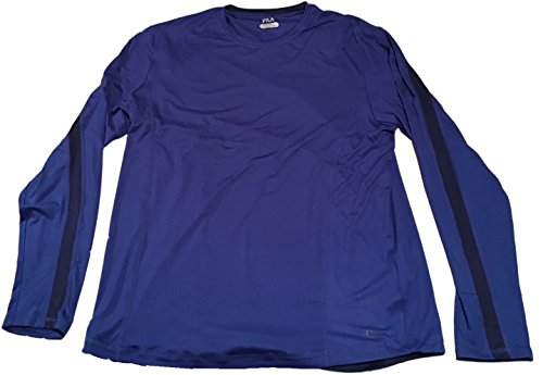 - Fila Men's Long Sleeve Performance Tee (X-Large, Royal Blue/Navy Stripe)