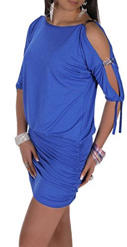 Glamour Empire Womens Open Sleeve Stretchy Jersey Tunic Mini Dress 157 (Royal Blue, US 6/8, S)